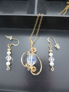Crystal and Gold wire wrapped Jewelry set by LindysLane on Etsy
