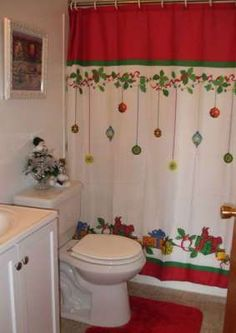Check Out 20 Amazing Christmas Bathroom Decoration Ideas. Christmas bathroom seats which are incredible and really creative for winter season and Christmas. Christmas Bathroom Sets, Christmas Shower Curtains, Family Bathroom, Primitive Bathroom Decor, Bathroom Decor Sets, Bathroom Ideas, Bathroom Vanities, Bathroom Cabinets, Bathroom Designs