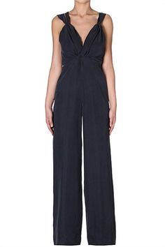 LIQUORICE SILK CREPE DE CHINE THE VINE JUMPSUIT Relaxed, fluid palazzo pants elongate the silhouette making this an easy option for your weekend. Wear with tonal accessories to compliment the liquorice hue.