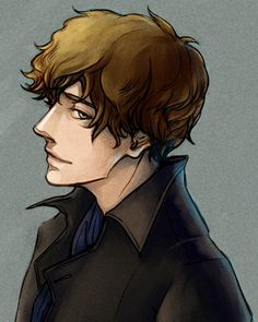 bakerstreetbabes:    simplelein:    First time drawing Sherlock    Um…please KEEP drawing Sherlock?