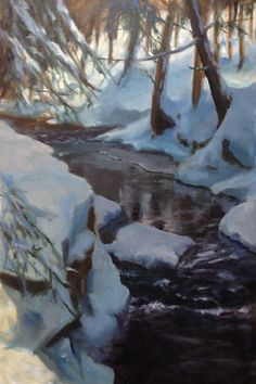 """Cold Creek 4 PM by Annie Compton, Takoma Park, MD  Oil ~ 36"""" x 24""""  More at http://anniecompton.com/works/907224/cold-creek-4-pm"""