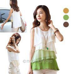 Ucuz  Doğrudan Çin Kaynaklarında Satın Alın: 2014 yaz moda kadın yuvarlak boyun kolsuz fırfır katmanlı etek tatlı yaz şifon gömlek 3 renk s- xxxxl y57 e3050öğe türü: etekRenk: sarı, kahverengi, yeşilMalzeme: şifon + polyesterDekorasyon: katlı, F