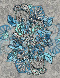 Let Me Lead You - blue grey doodle pattern Art Print - zentangle floral drawing