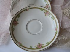 Vintage Haviland Limoges Pink Green Floral Saucers by thechinagirl
