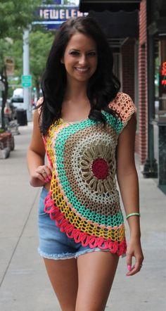 colorful  crochet top  #crochet