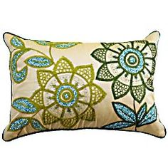 Green Flowers Pillow, Pier 1, $24.95  The greens and blues in this are spot on for what I want in the family room.