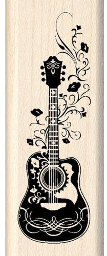 Folk Guitar - Rubber Stamps for Inspiration Draw Music, Guitar Tattoo, Pyrography, Doodle Art, Printmaking, Coloring Pages, Art Drawings, Stencils, Folk