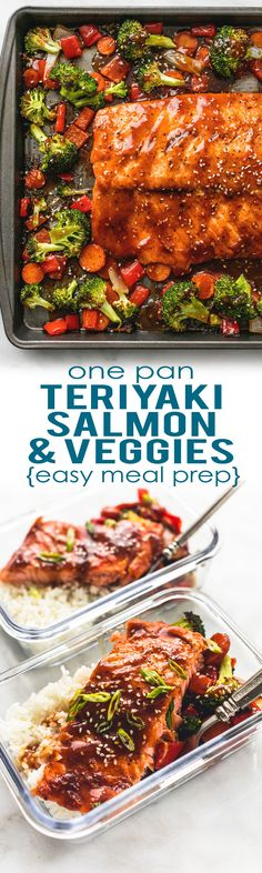 Easy and healthy ONE PAN Teriyaki Salmon & Vegetables is a tasty sheet pan dinner and perfect for simple meal prep!