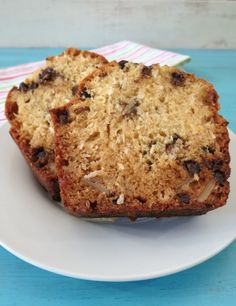 Almond Joy Bread - A light, fluffy, healthy quick bread chock full of coconut, chocolate and almonds. Tastes identical to an Almond Joy Candy Bar!