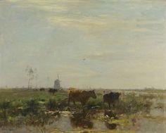 Willem Maris   Meadow with Cows by the Water, Willem Maris, 1895 - 1904   Weidelandschap met koeien aan het water, in de verte een molen. In de sloot groeien waterlelies.