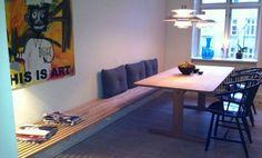 DIY - Se her hvordan en sengegavl fra IKEA er blevet til en cool væg-til-væg bænk, og som ligner en trellebænk.