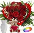 Red roses heart shape with teddy, vase and love for Hyderabad delivery. Low price range from others website. Visit our site : www.flowersgiftshyderabad.com/Combo-Gifts-to-Hyderabad.php.