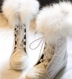 MUKLUKS Indian luxury glamorous big fox fur stitching Long Tall ...