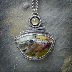 Sterling Silver Necklace with Rosella Opalite and Prehnite Cabochons