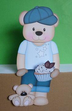 3D On the Shelf Card Kit - Cute Little Austin Bear has a Cupcake - Photo by Anne Jackson