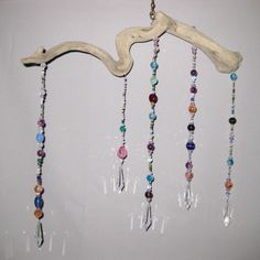 Driftwood Mobile, Beads, Crystals, Crystal Pendants. via Etsy.