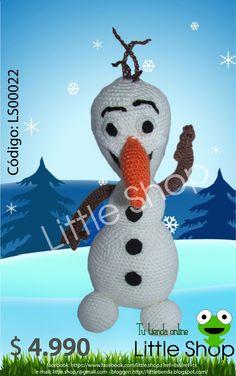 Muñeco de la película Frozen. Especificaciones: •Tejido a crochet, hecho a mano. •Material: Hilo, fieltro, algodón. •Color: blanco, detalles en naranja, café, negro. •Dimensiones: 24x12 cm.