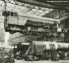 BW photograph from vintage steam train engine, train workshop, the Pacific train engine, train construction via Etsy. Diesel, Old Steam Train, Abandoned Train, Old Trains, Vintage Trains, Train Pictures, Train Engines, Steam Engine, Steam Locomotive