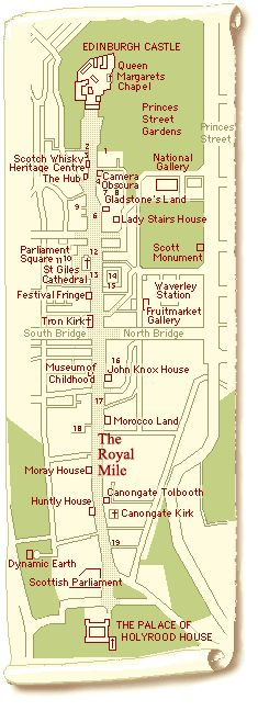 Map of The Royal Mile and a guide to the buildings in it. More