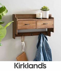 Spruce up your entryway with our Wooden Wall Shelf with Drawers and Hooks. The drawers give you storage space, while the shelf gives you display space. Wall Shelf With Drawer, Wooden Wall Shelves, Drawer Shelves, Wooden Walls, Wall Wood, Floating Nightstand, Floating Shelves, L Shaped Shelves, Rustic Bookcase