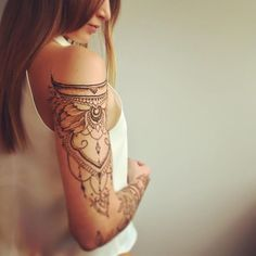 Tattoo Shoulder Henna Sleeve Ideas For 2019 Henna Tattoo Sleeve, Cuff Tattoo, Henna Tattoos, Lace Tattoo, Mehndi Tattoo, Henna Tattoo Designs, Piercing Tattoo, Body Art Tattoos, New Tattoos