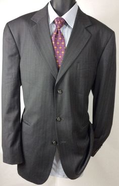 Stafford Mens Gray Striped Wool 42L Suit Jacket | 3 Button Sport Coat Free Tie #Stafford #ThreeButton
