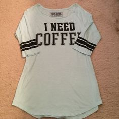 """VS Pink sleepwear Light blue/green sleepwear from VS pink with """"I NEED COFFEE"""" written on the front in black. In great condition!! PINK Victoria's Secret Intimates & Sleepwear Pajamas"""