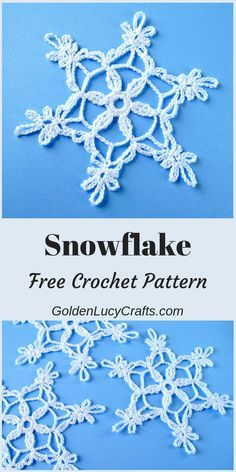 Grande Crochet Snowflake, Free Crochet Pattern – GoldenLucyCrafts - Uncinetto - Motivi Per Uncinetto Free Crochet Snowflake Patterns, Crochet Motifs, Christmas Crochet Patterns, Crochet Snowflakes, Holiday Crochet, Thread Crochet, Crochet Gifts, Crochet Doilies, Easy Crochet