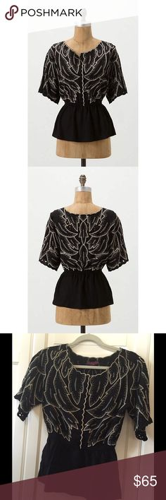 Anthropologie Maple Peplum Top Anthropologie descending peplum; Embroidered leaf design; Scalloped collar; Button front to waist. BRAND NEW/ NEVER WORN❗️❗️ Anthropologie Tops Blouses