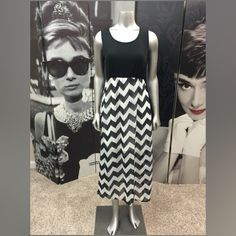 "Chevron Maxi Dress Very Cute Black & White Chevron Dress with Elastic Waist & Built in Short Slip!! Perfect Condition! Total Length From Top of Shoulder to Bottom Hem 50"" Will fit a Med/Large Dresses Maxi"