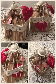 Gabbietta decorativa Shabby Chic porta - sacchetto di Iuta porta biscotti - Idea regalo di Natale Home Made by Rossella&Co.