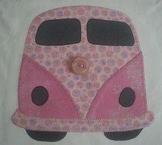 pink camper van appliqué