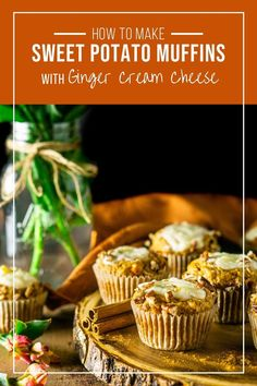 Your fall brunch needs these sweet potato muffins with cream cheese filling! These fall muffins are perfect spiced, and the cream cheese filling features fresh ginger for the perfect autumn touch. Makes a great Thanksgiving breakfast too! #sweetpotatomuffins #sweetpotatomuffinswithpecans #fallbrunch #fallbrunchideas #thanksgivingmuffins #thanksgivingbrunch #thanksgivingbreakfast