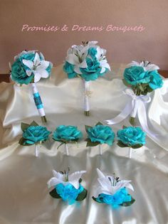 Tropical Turquoise Rose & Tiger Lily Bouquet by PromisesAndDreams, $140.00
