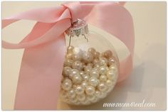 DIY:: Ribbon With Pearls In a Glass Ornament