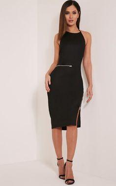 Lottie Black Zip Detail Midi Dress.   dresslover.co.uk