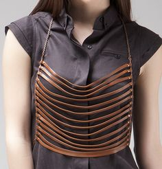 Bliss Lau  KILLJOY VEST   / leather stripping vest designed to be worn four different ways /