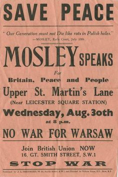 British Union of Fascists; British National Party, 30 August, Leicester Square, England Uk, 1930s, Wwii, Britain, Peace, History