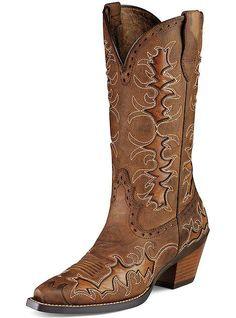 Women's 8 B M Ariat Dandy Brown Leather X Toe Cowboy Boots 10007964