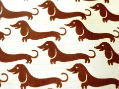 1960s Fisher & Gentile Dashshund Print Fabric - Brown on Cream - Silky Fabric - Seven Feet Long x 45 Inches