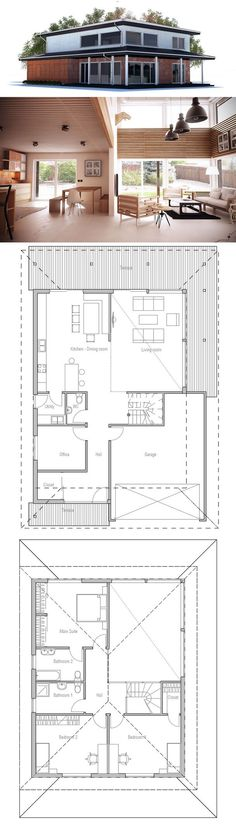 Modern House Plan, Suitable to narrow lot. Floor Plan from ConceptHome.com