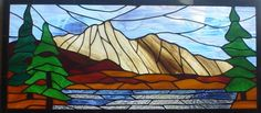 Mountain Lake rustic stained glass window by NatureWalkGlass, $250.00