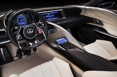 Lexus LF LC Blue Concept modern black white leather wood organic detail surface interior blue multifunction steerinf wheel