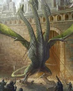 Huge 3 Headed Hydra or Dragon Castle City This is beautifully done. But the chains around the necks make me angry. Tiamat Dragon, Dragon Artwork, Cool Dragons, Fantasy Monster, Mythological Creatures, Fantasy Inspiration, Magical Creatures, Fantasy Artwork, Creature Design