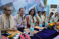 Mr. Onno Ruhl attending a press conference organized at Chandipur Gram Panchayat office. With him were officials from World Bank and Project Manager of ISGP Project Mr. Soumya Purkait (extreme left)