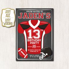 American Football Invitation, American Football Birthday Invitation, Football birthday invitation, Any age, DIGITAL FILE ONLY - 1654 Teen Birthday Invitations, Football Invitations, Football Birthday, Youre Invited, American Football, Color Change, Rsvp, Messages, Prints