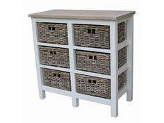 wicker dresser with wood top | ... Tall Southwold off White Wooden 6 Rattan Basket Unit Cedar Wood Top