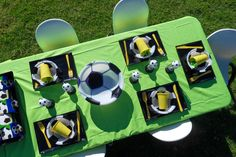 Great Soccer birthday party set up by Shoalhaven Kids Parties - love the football bowl to hold your party snacks. Football Party Games, Soccer Party, Party Snacks, Party Favors, Soccer Birthday Parties, Kids, Yellow, Green, Black