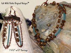 Copper & Turquoise Tone Bracelet Set by CaliWildVioletDesign