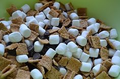 Super Easy Smores!   INGREDIENTS:    Golden Grahams cereal  mini marshmallows  chocolate chips                DIRECTIONS:    1. Mix the ingredients together. The ratio is up to you. I usually do about 1 part cereal, 1 part marshmallows and 1/2 part chocolate chips. Then scoop out individual portions to put in bags or reusable containers! That's it!